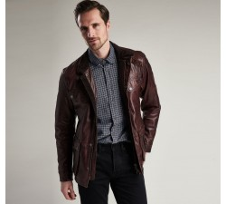 Veste BARBOUR John Leather Red/Brown