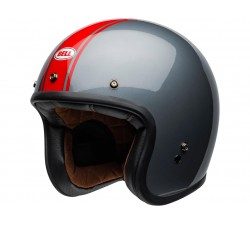 Casque BELL Custom 500 DLX Rally gris bande rouge casque vintage