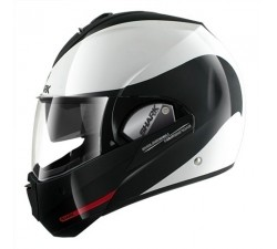 CASQUE MODULABLE SHARK - EVOLINE 3 HAKKA - Blanc & Noir brillant