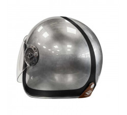 casque jet EDGUARD DIRT ED Heritage Painted grey-black casque alu cuir marron