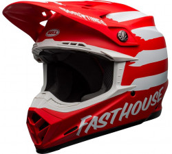 casque moto cross Moto-9 Mips Fasthouse Signia Matte Red - White rouge